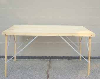 Folding Wall Paper Table Industrial Chic Primitive Wood & Iron Architctural Mid Century