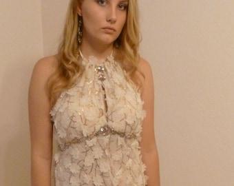 Bohemian Sparkle Gown Dress Bridesmaid Red Carpet Party Gold Sequins