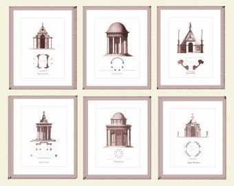 Set Of Six Decorative Garden Architecture Prints, 8 x 10 with discount, Brown Bronze Sepia Color Garden Temple Print