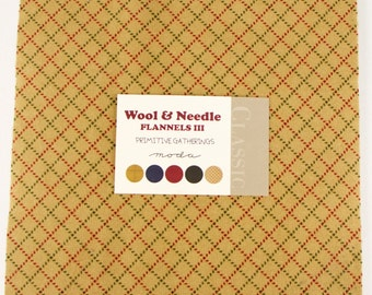 WOOL NEEDLE Flannels III  Moda Layer Cake Primitive Gatherings cotton fabric 42 10 inch squares
