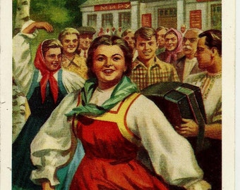 May 1st, Spring and Labor Day, Vintage Postcard Russian print 1959 unused
