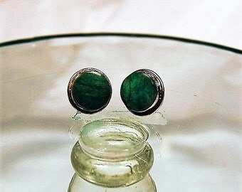 Vintage Malachite and Silver Earrings