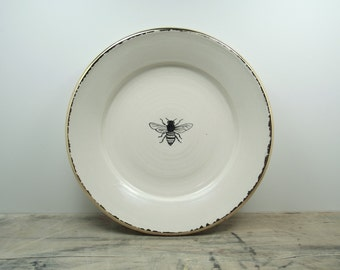 White and Gold Porcelain Bee Dish or Wall Hanging Bee Plate-Bee Home Decor, Bee Art, Bee Pottery