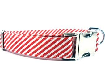 Dog Collar, RED STRIPES, Handmade Dog Collar