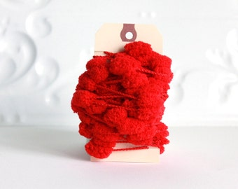Red Pom Pom Garland 3 yards gift embellishment novelty twine holiday trim packaging ribbon