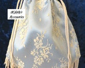EVENING HANDBAG in Your Choice Color Satin and Delicate Chantilly Lace Embellished with Fringe Bridal Civil War Formal Reenactment Pageant