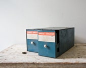 Vintage Card Catalog Storage - Capacitors Drawer Teal Aqua Wooden Two Drawer File Cabinet Freestanding Industrial Card Holder Patina Office