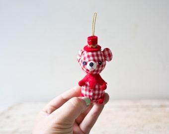 Small Bear Ornament - Velvet Red Checkered Bear Ornament Christmas Ornament Adorable Animal Handmade Hanging