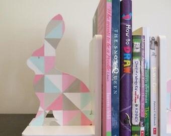 Geometric bunny bookend set - Handpainted, Modern kids decor