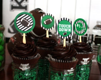 Football, Down Set Hut, Sports Theme, Birthday Party, Cupcake Toppers Tags Circles