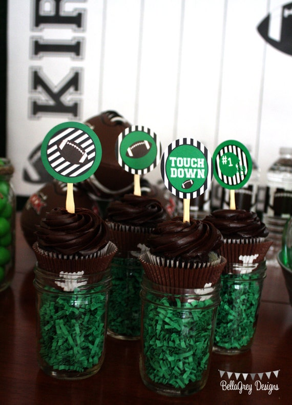 cupcake toppers for Football Party by BellaGrey Designs