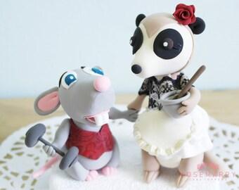Custom Wedding Cake Topper - Mr Rat & Mrs Meercat