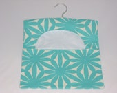 Cotton Peg Bag Large Turquoise Daisy Print, Peg/Clothespin Bag, Laundry Day, Hanging Pegbag