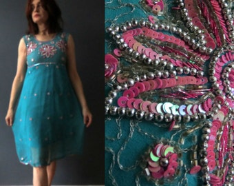 VIntage 80s Aqua Pink Sequins Bollywood Dress Small Western Style Party Dress Small