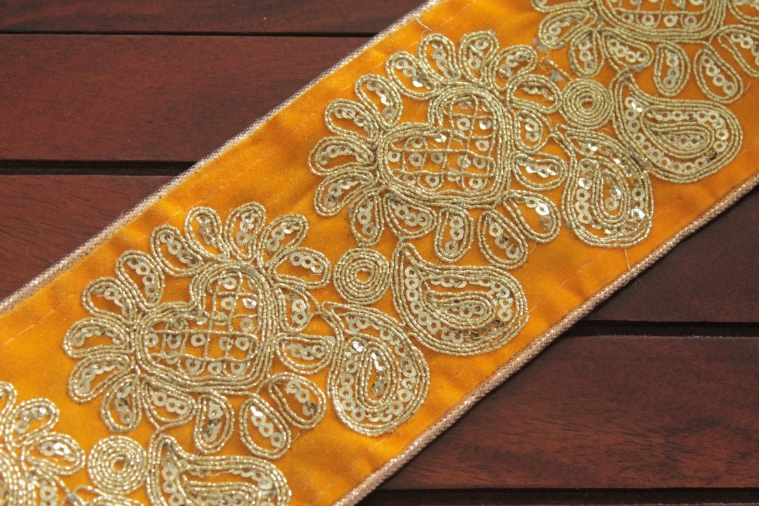 Yard yellow fabric trim embroidered by artsycraftsydesigns