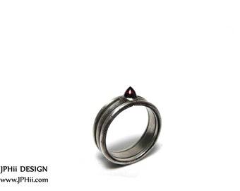 Garnet Dragon Spike Silver Ring