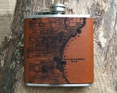 Flask | Laser Etched Leather | Milwaukee Map | Light Brown