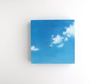Blue Sky Oil Painting - 4 x 4