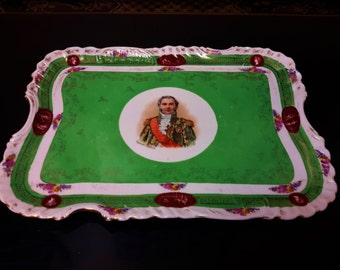 Antique Vanity Tray Marechal LeFebvre Marshal of France Porcelain Green With Gold Hand Decorated Crown N Makers Mark
