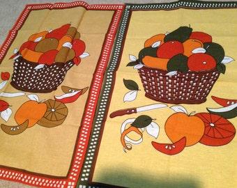 Vintage Decorative PAIR Linen cotton mid century modern Tea Kitchen Towel new old stock