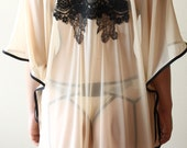 Cavalier Swing Cape// Women's Champagne Mesh lingerie Cape with Lace Applique and Fringe