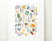 WELSH language Alphabet Print. Boys Bechgyn Welsh Illustrated Art. Wales Cymru. 12x16. Nursery Wall art. ABC. Educational.