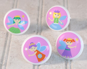 Kids Fairy Princess Drawer Knobs, Ceramic Drawer Knobs, Decorative Knobs (Singles and Sets of 4), Kids Bedroom Decor, Girls Nursery Decor