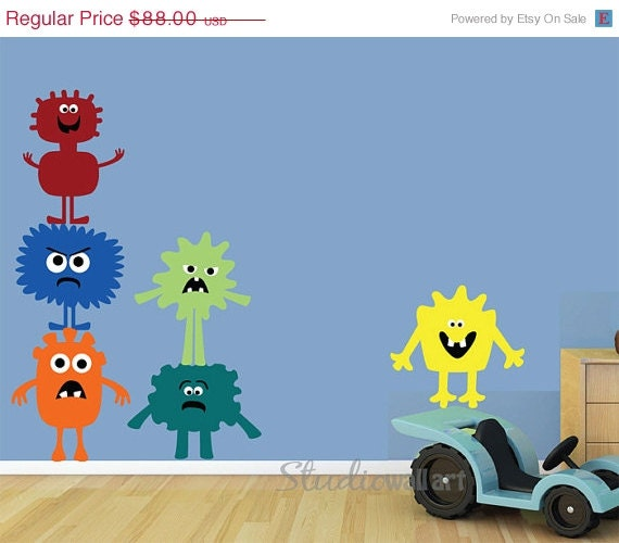 20% OFF SALE REUSABLE Wall Decal - Monsters Wall Decal -  Reusable Repositionable Childrens Fabric Wall Decal - Sk307Swa