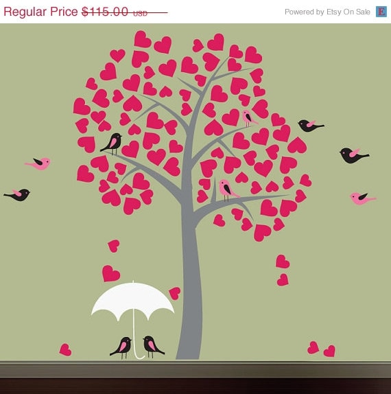 20% OFF SALE Childrens Tree Wall Decal, Reusable Heart Tree Wall Decal - T113Swa