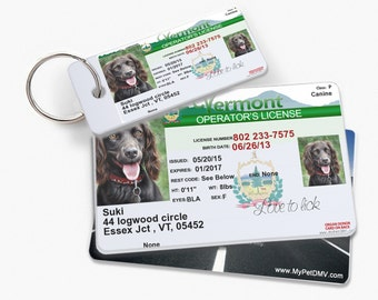 Vermont Personalized Pet License ID w/ Collar ID Tags