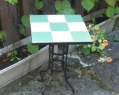 Patio Sun Room Table Furniture Plant Stand Wrought Iron Tiled Top  Mid Century Retro White and Moss Green