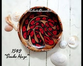 Snake Maze Finger Labyrinth Hand Painted Wood Bowl Decorative Art OOAK, #1542