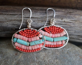 Ibiza Summer - Coral, Magnesite and Turquoise Wire Wrapped Earrings - Bohemian Style - Hammered Silver Wire Earrings
