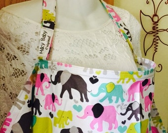 Breastfeeding nursing cover up apron like  hooter hider new print elephants pastel