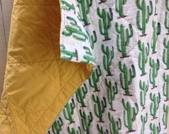 Organic Wholecloth Quilt - Lush Cozy Cactus and Golden Sun - Crib Quilt
