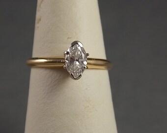 Marquise Diamond Solitarie .56Carats 14K WG/YG 2.2gm Size 8 Engagement Wedding
