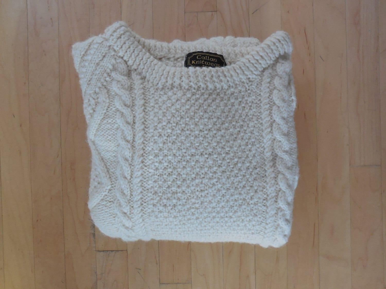 Irish Cable Knit Sweater Patterns : Vintage Cable Knit Cardigan Sweater / Irish Fisherman
