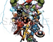 Avengers Invitation - Digital File Only - Thor - Iron Man - Captain America - Hulk - Spiderman