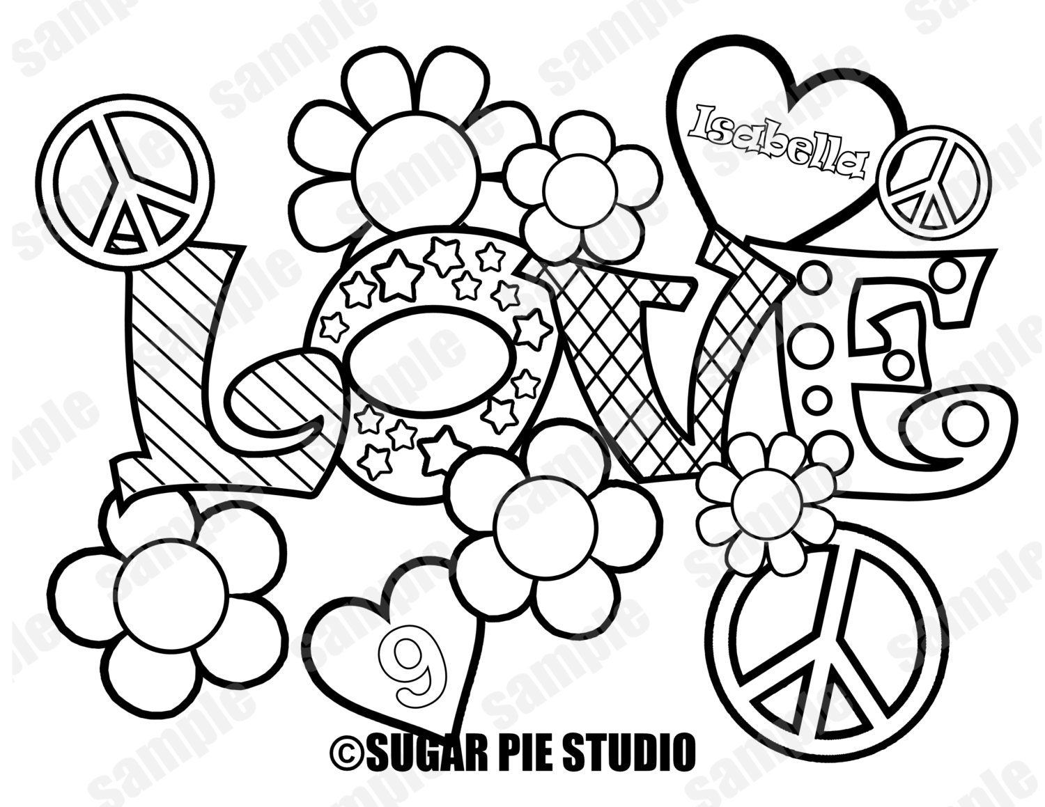 coloring pages peace love - photo#5