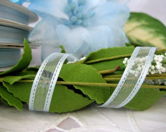 "Light BLUE Organza Ribbon -  Elegant Parallel Borders Framing for Sewing, Baby Shower Ribbon, Crafting, Scrapbooking, 3/8"" wide, 50 yards"