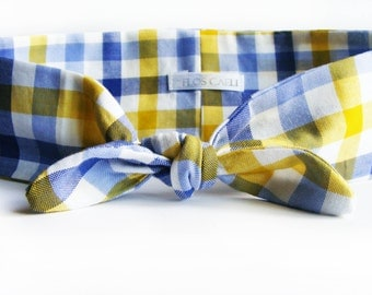 Yellow and Blue Plaid Turban - Bow Headband - Summer Dolly Bow - Cute Hair Accessories - Wide Hairband - Head Scarf - Yellow Bandana - Bow