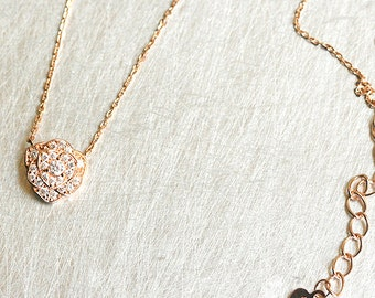 CZ Rose Gold Rose Necklace Sterling Silver
