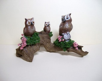 Owl family on driftwood, ceramic miniature owl family