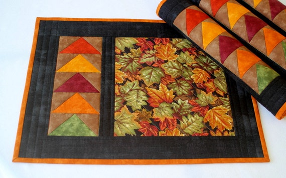 Fall Placemats Quilted Placemats Autumn Table Mats Maple
