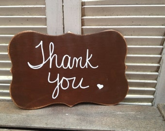 Rustic Brown and White Thank You Photo Prop Sign, Wooden Wedding Signage, Thank You Sign
