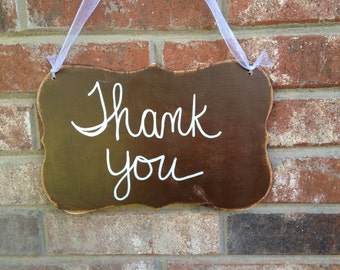 Rustic Brown and White Thank You Wedding Photo Prop Sign and Decor, Wooden Brown Thank You Sign