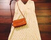 Vtg Yellow Floral 70's Boho Hippie Hispter  Simple Sun Dress Sz M-L