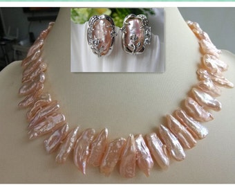 PEARL SET- 18 inch cultured pink biwa pearl necklace earrings set