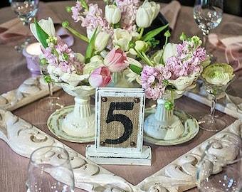 BURLAP WEDDING Rustic Table Numbers, Cottage Burlap Painted Table Numbers for WEDDING Reception, Burlap Wedding, Wedding Party Burlap Number