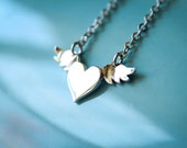 Heart with Angel Wings Necklace, Available in Silver, Gold, and Rose Gold